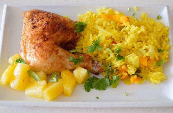 Caribbean Chicken Turmeric W/ Rice Pilaf